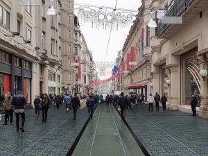İstiklal'de Nostaljik Tramvay raylarını yenileme çalışması hızla devam ediyor.