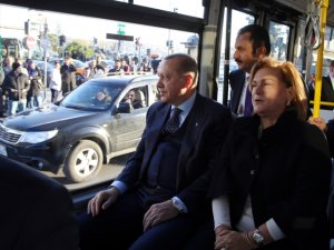 Recep Tayyip Erdoğan elektrikli otobüsle yolculuk yaptı