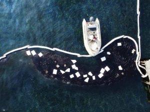 Foça'da petrolün kirlettiği deniz temizlendi