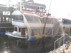 Erdek'te batan 'Hacı Veysel' isimli restaurant teknesi kurtarıldı