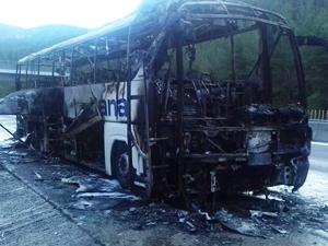 Seyir haindeki yolcu otobüsü alev aldı