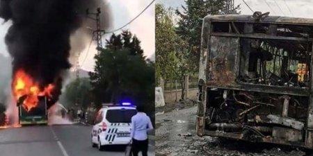 İstanbul'da faciadan dönüldü! Otobüs alev alev yandı