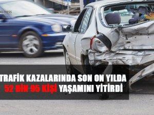 Türkiye'de 2009-2018 yılları arasında, 12 milyon 236 bin 912 trafik kazası meydana geldi