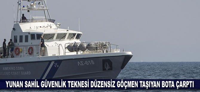 Yunan Sahil Güvenlik teknesi düzensiz göçmen taşıyan bota çarptı