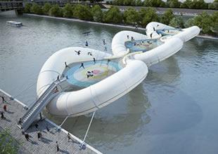 Paris'e üç trambolinli şişme köprü yapılacak