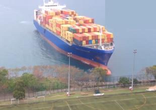 Hong Kong'da dev gemi karaya oturdu