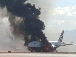 British Airways uçağının motoru yandı: 14 yaralı
