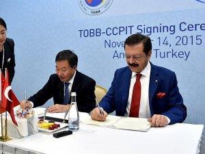 TOBB ile CCPIT arasında iş birliği anlaşması imzalandı