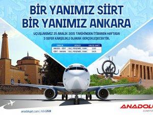 AnadoluJet, Ankara-Siirt uçuşlarını başlattı