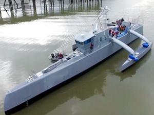 ABD'nin insansız gemisi 'Sea Hunter' suya indirildi